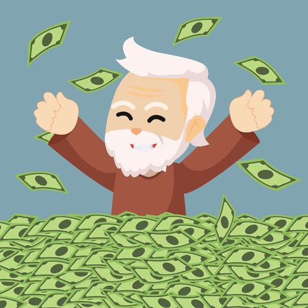 making a face: grandpa enjoy his retired money Illustration