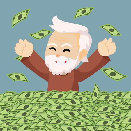 retired: grandpa enjoy his retired money Illustration