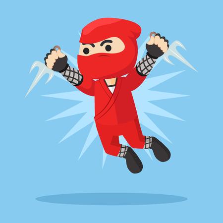 attack: ninja jumping attack illustration design
