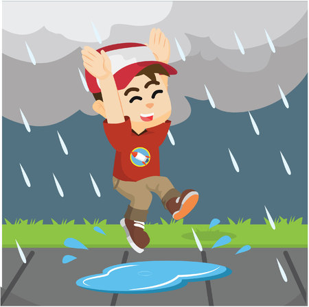 puddle: boy jumping in rain on a puddle