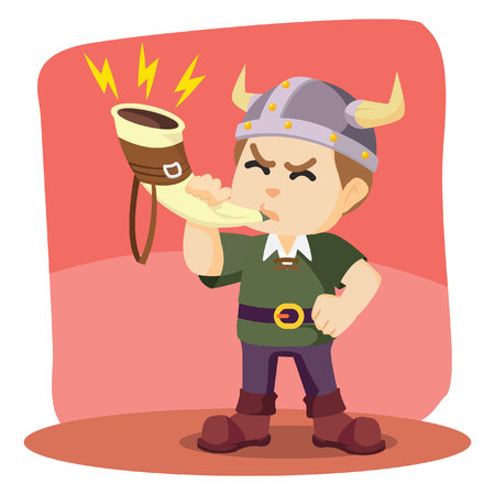odin: viking blowing war horn illustration design