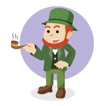 dependency: leprechaun holding cigar illustration design