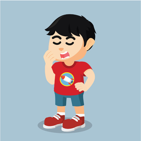 boy getting sleepy illustration design