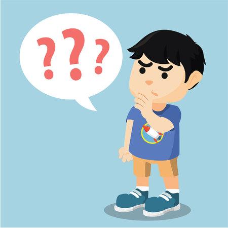 baffled: boy with question marks