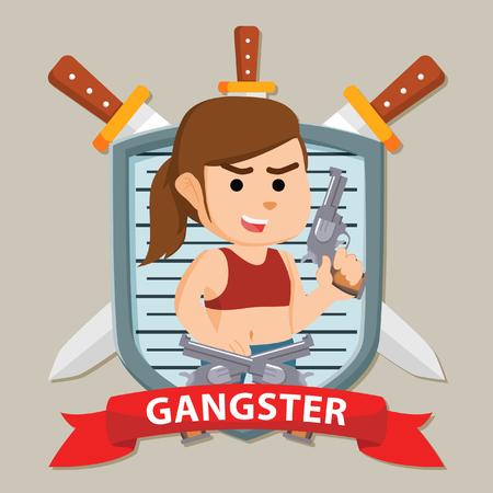 woman gangster in emblem illustration design