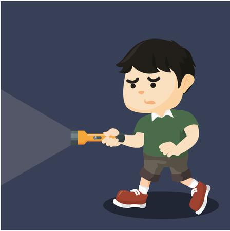 walk away: boy walking in the dark with flashlight
