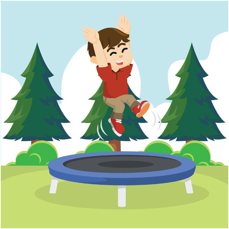 trampoline: boy cheerful jumping on trampoline