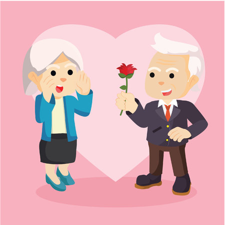 old man portrait: old man gift flower to his couple colorful Illustration