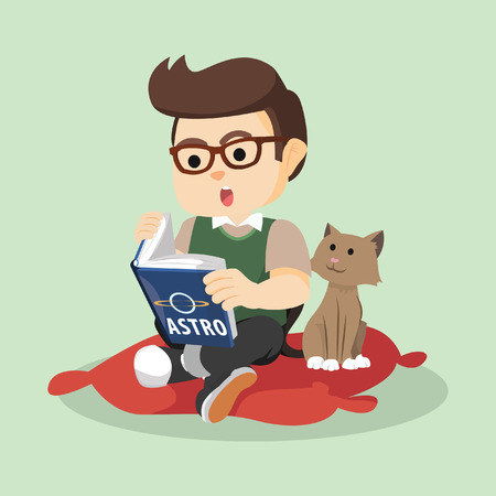 while: boy reading while cat watching colorful