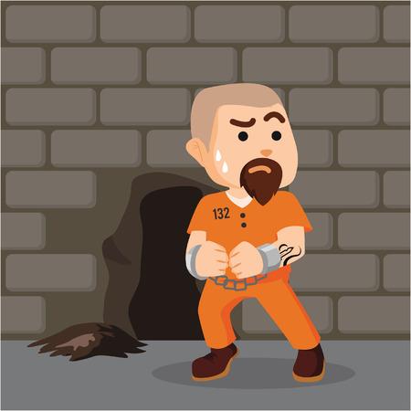 prison break: convict trying to escape through hole