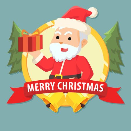 clause: santa clause with gift in emblem colorful