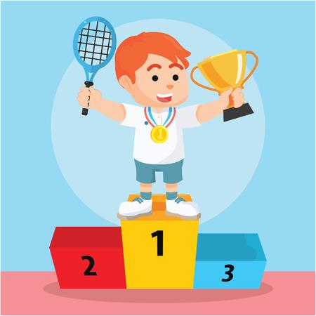deportes caricatura: Muchacho del jugador de tenis ganó la medalla y el trofeo