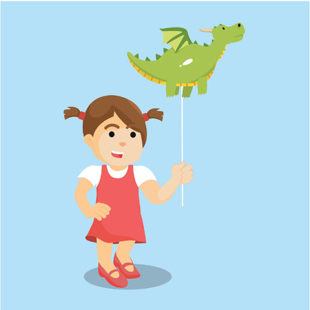 little child: girl with dragon balloon colorful