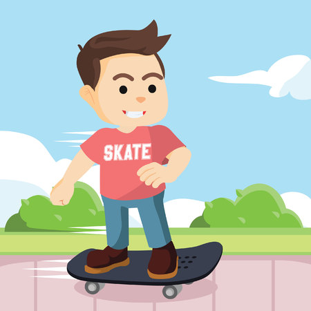 boy skater: skater boy in pedestrian colorful