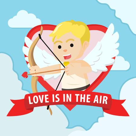 cupid boy in emblem colorful Illustration
