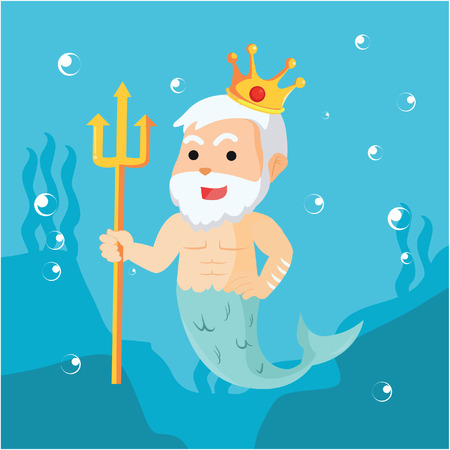 king neptune: neptune with his crown and weapon