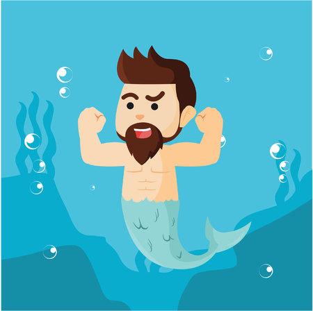 merman: male mermaid showing his muscle
