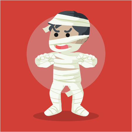 scaring: guy in mummy costume scaring illustration design Illustration