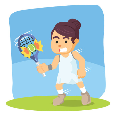 hit: female tennis player hit the ball Illustration