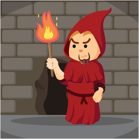 catacomb: inquisitor holding torch in dungeon Illustration