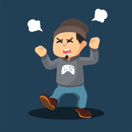 gamer: angry gamer illustration design
