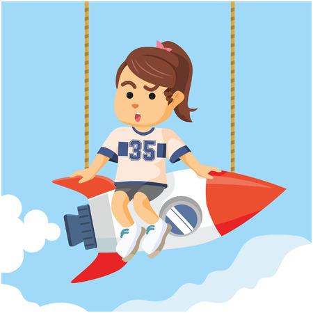 hot girl legs: beauty girl twintail on rocket Illustration