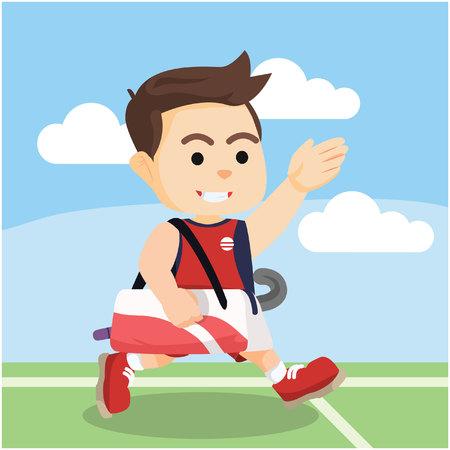 field hockey: Field hockey player running after the match