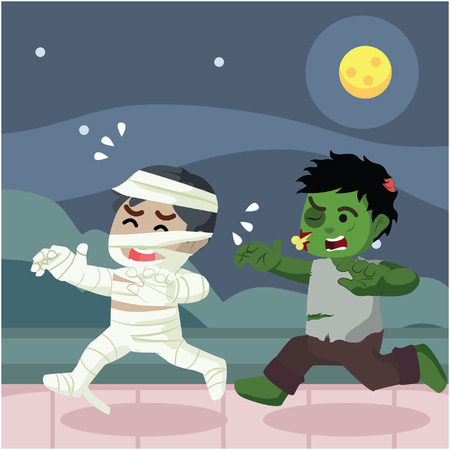 chased: guy in mummy costumes get chased by a real zombie Illustration