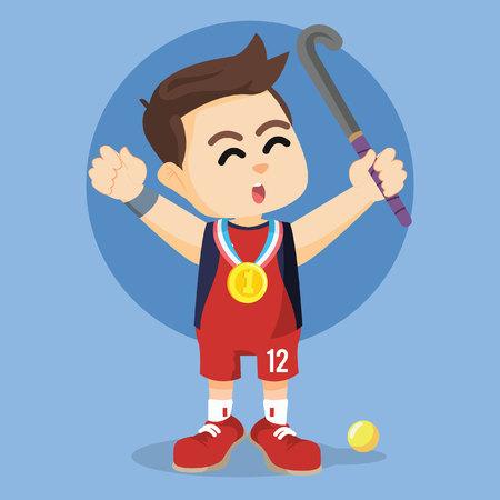 hockeyspeler winnende medaille Vector Illustratie