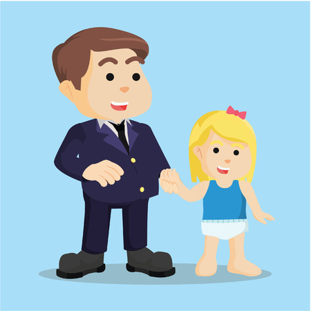 piggyback: daddy with his children colorful Illustration