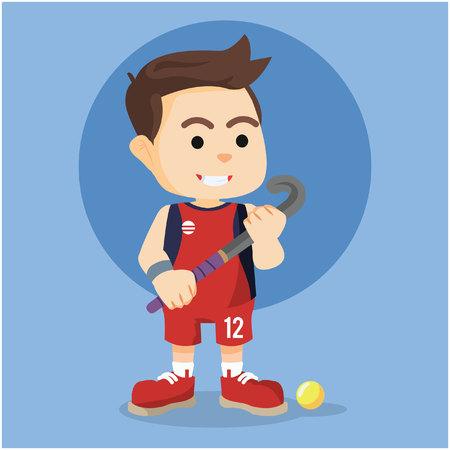 puck: field hockey player illustration design
