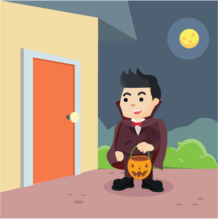 treat: guy in vampire costume trick or treat