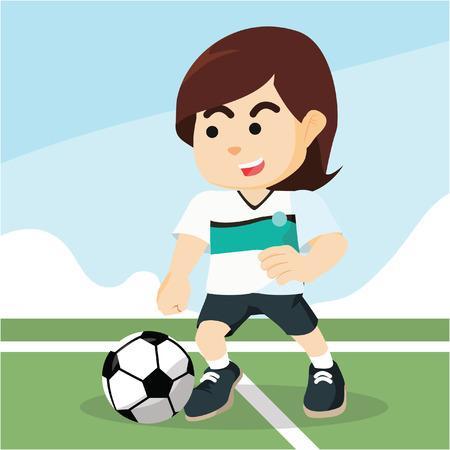 dribbling: female soccer player dribbling Illustration