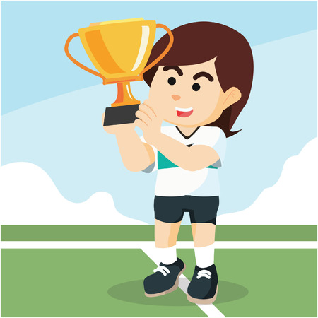 female soccer player holding trophy