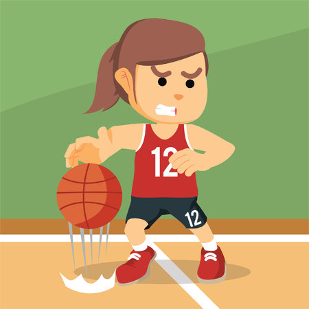 dribbling: female basketball player dribbling