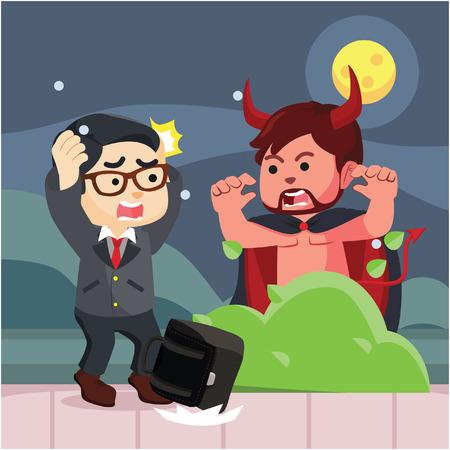 suprise: guy in devil costume suprising people