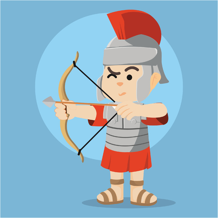 roman soldier with bow Illustration