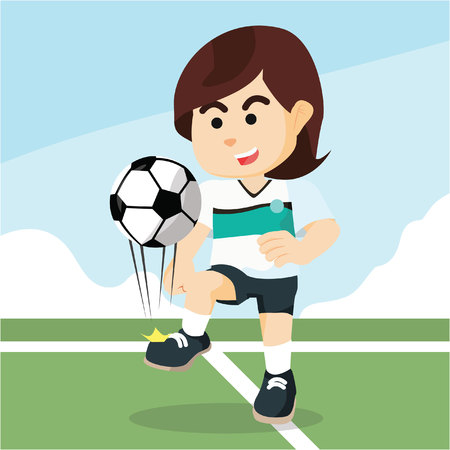 lowers: female soccer player juggling Illustration