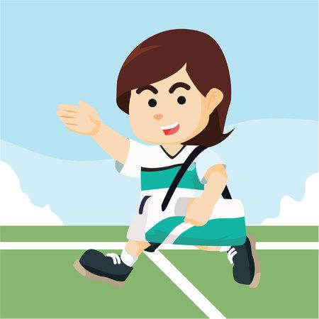 female soccer: female soccer player walk carrying bag Illustration