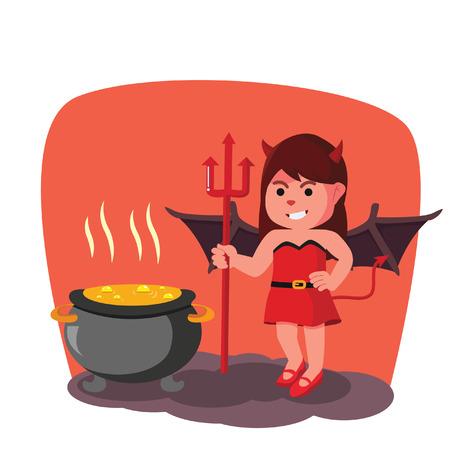 to boiling: devil girl boiling pot Illustration