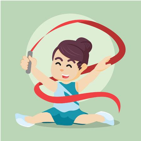 ribbon dancer doing split colorful