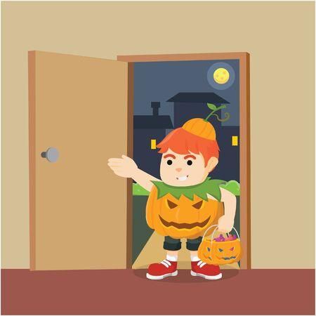 scare: boy scare trick or treat Illustration