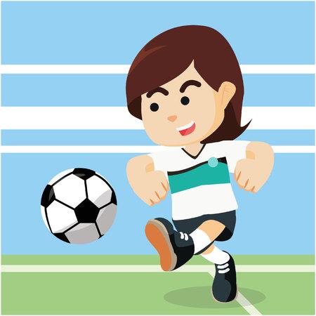 football stadium: female soccer player shooting ball