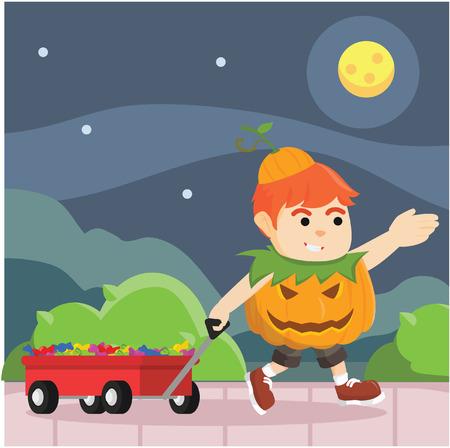 so: boy in pumpkin costume got so much candy