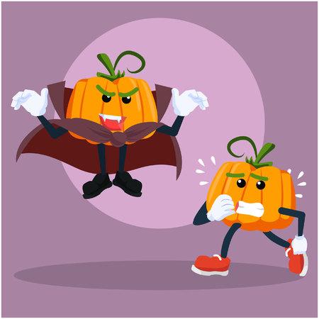 pumpkin man afraid vampire pumpkin man