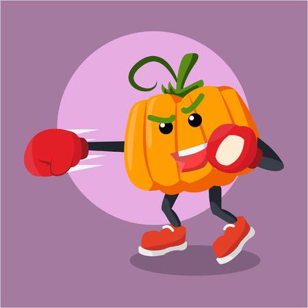 pumpkin man boxing illustration design