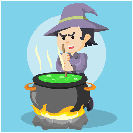 whitch: witch cooking potion colorful Illustration