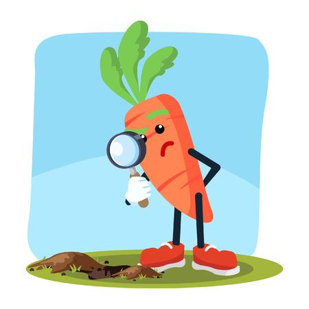 carrot man seeing through magnifying glass