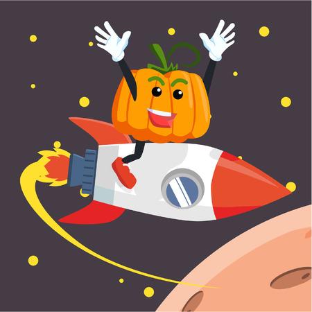 flying man: pumpkin man flying with rocket