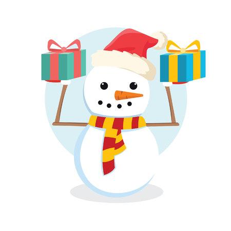bonhomme de neige tenant cadeau coloré